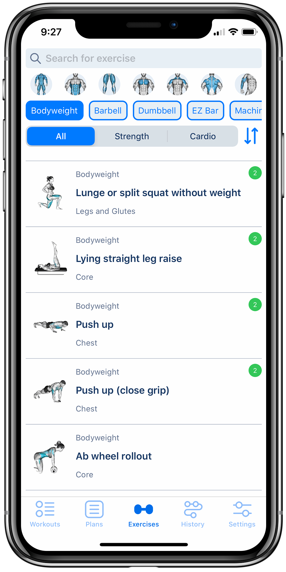 Workout tracker app on iPhone displaying a list of fitness exercises