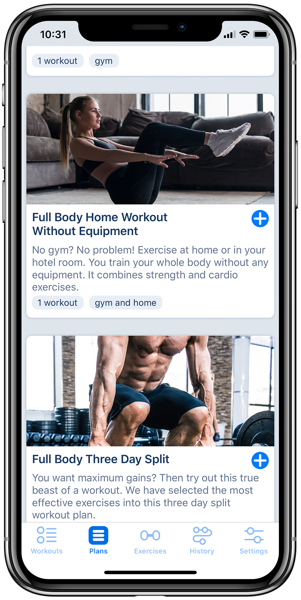 Workout tracker app on iPhone displaying list of predefined workout plans