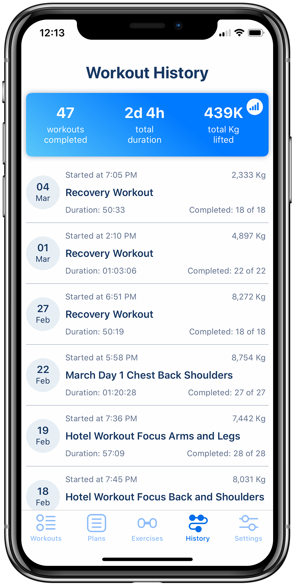 Workout tracker app on iPhone displaying a history of executed workouts