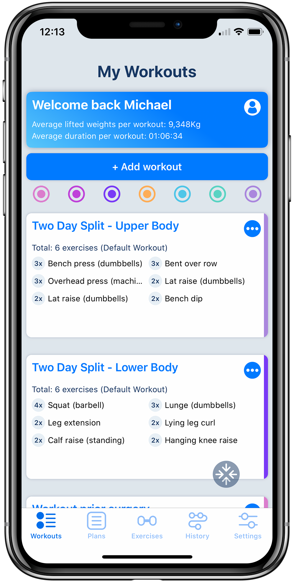 Workout tracker app on iPhone displaying a list of fitness workouts